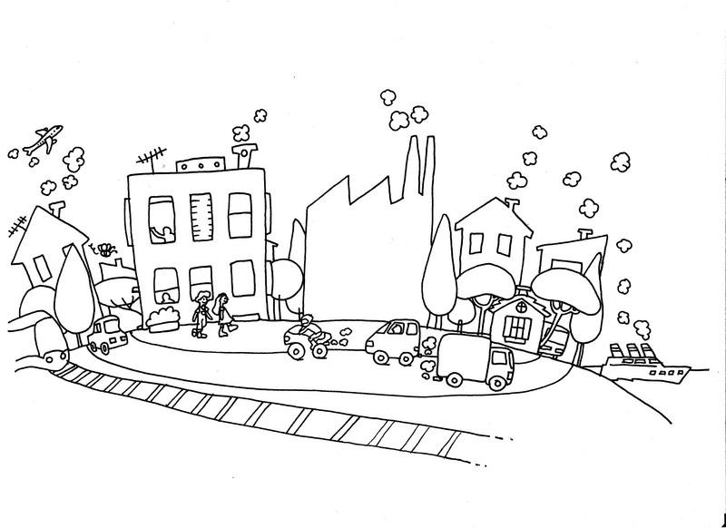 Module 2 les causes de la pollution de l air www - Coloriage ville ...